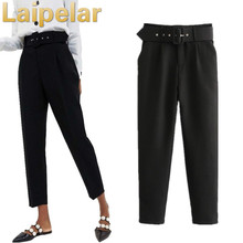 цена Black high waist trousers casual pants Autumn pants suit pants Laipelar Fashion Women Pencil  Pants онлайн в 2017 году
