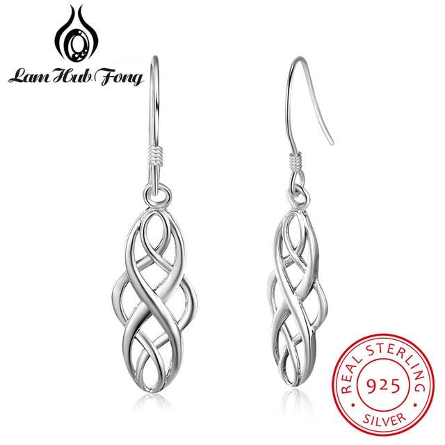 925 Ayar Gümüş Küpe Kadınlar için Örgülü Şekil 21mm Dangle Bırak Küpe Basit Takı yıldönümü hediyesi (Lam Hub Fong)