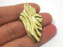 Brass findings 45x25mm Wavy brass charms Earrings pendant R330 цена