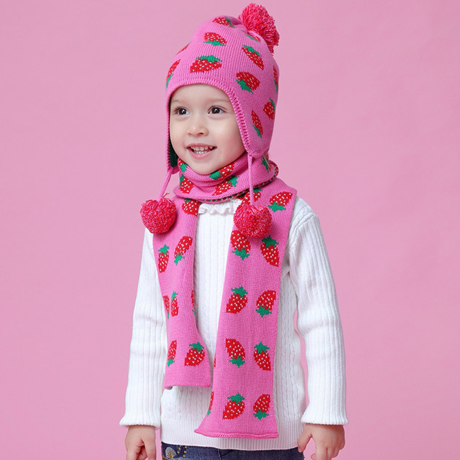 e8823be359a Baby   Kids Girls Strawberry Hat Scarf Set Children Girl Fashion ...
