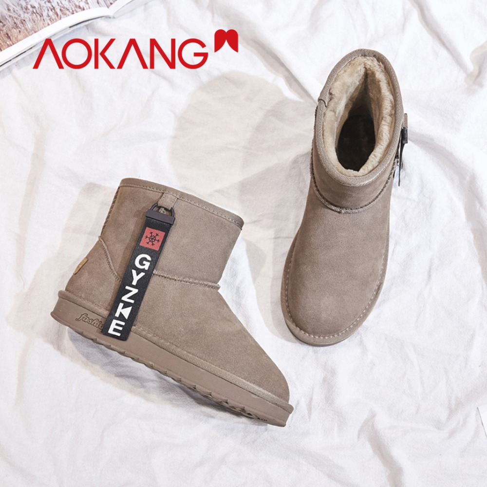 AOKANG Winter Snow Boots Women Plush Insole Flat Slip On Shoes High Quality Platform