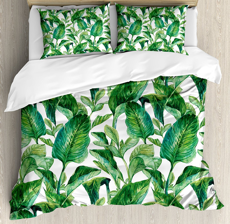 Feuille housse de couette ensemble reine taille romantique vacances île hawaïenne bananiers Image aquarelle vert foncé et vert forêt