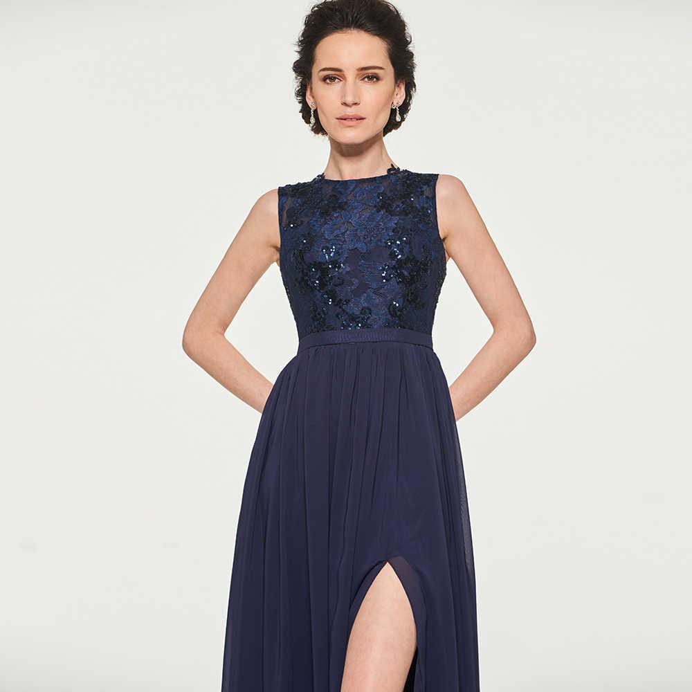 שמלת סקופ צוואר אמא שרוולים של שמלת כלה פיצול חזית מקיר לקיר ארוך אמא שמלת ערב תחרה אישית אמא שמלות