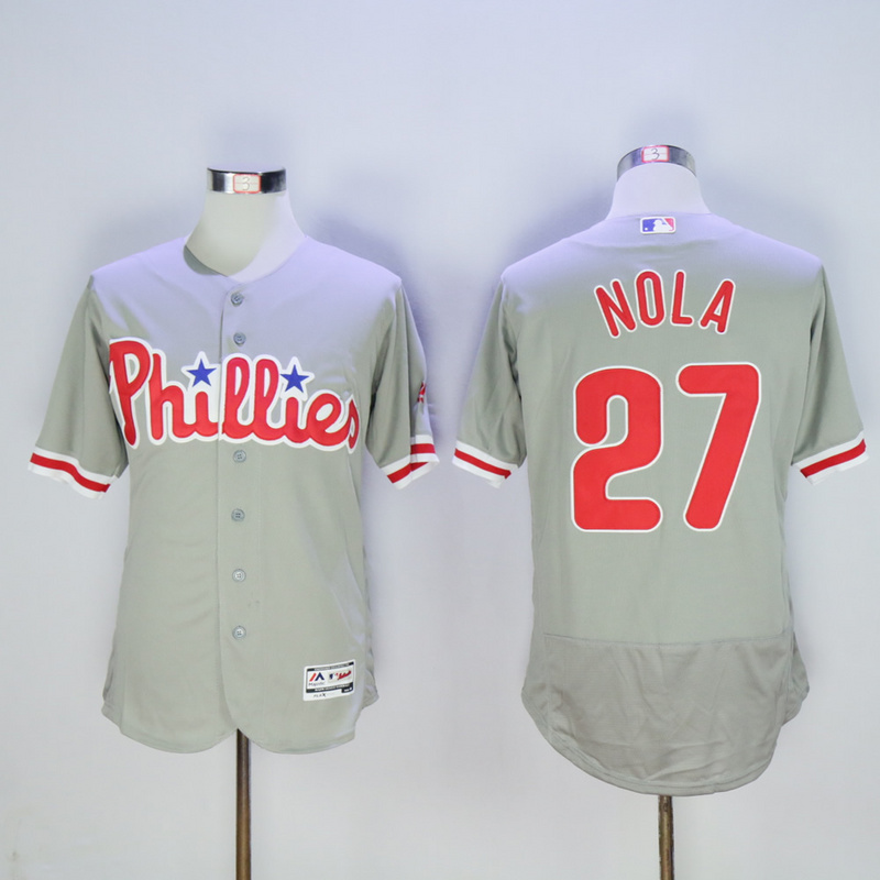 MLB Mens Philadelphia Phillies Aaron Nola Rhys Hoskins Baseball Gray Flex Base Authentic Collection Player Jersey