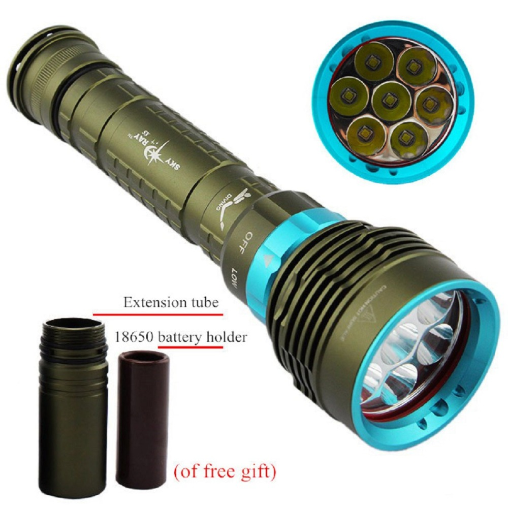ФОТО Underwater Diving LED Flashlight 12000 LM XM-7*T6 Diver Torch Light for 3x18650 or 26650 battery Camping hiking lighting