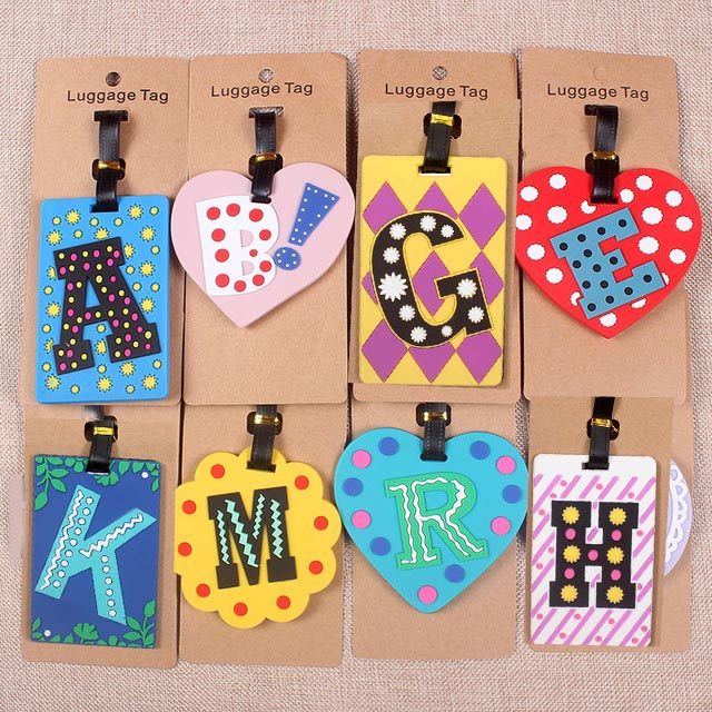 Cute 26 Letters Travel Accessories Luggage Tag Cartoon Silica Gel Suitcase ID Addres Holder Baggage Boarding Tags Portable Label