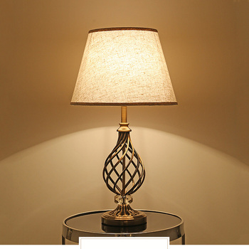 Chinese table light bedroom living room bedside light hotel office study desk lamp cloth E27 decoration light crystal lantern