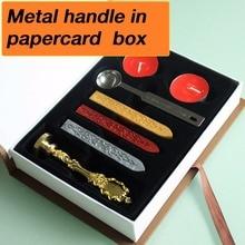 Neue anpassen Stempel mit geschenk box, Retro Stil Siegellack Stempel set, Deluxe geschenkset 26 alphets/gruß wörter Metall griff