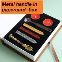 New customize Stamp with gift Box,Retro Style Sealing Wax Stamp set,Deluxe Gift set 26 alphets/Greeting words Metal handle