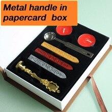 Sello personalizado con caja de regalo, juego de sellos de cera de sellado de estilo Retro, set de regalo de lujo 26 alphets/mango de Metal con palabras de saludo