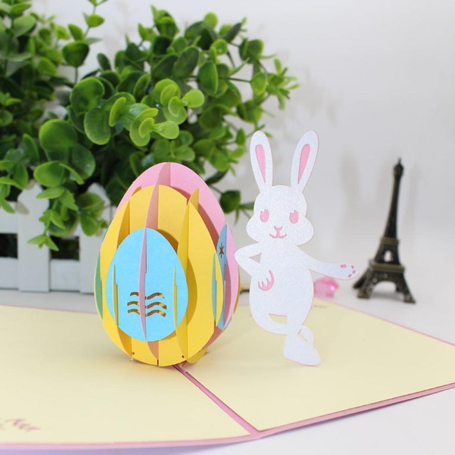 Creative 3d greeting card origami engraving papercut pop up easter creative 3d greeting card origami engraving papercut pop up easter bunny egg birthday festive gifts negle Images