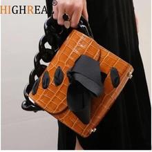 Resin Chains Crocodile Pattern Handbag Adjustable Strap Totes Acrylic Ring Handle Accessories Alligator Crossbody Shoulder Bag