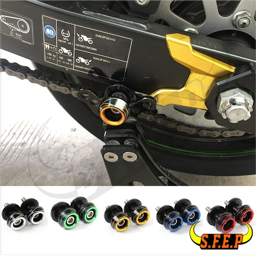 6mm Universal CNC Aluminum Swingarm Spool Adapters Mounts For Yamaha R1 R6 R3 R25 R15 MT-09 MT-07 TMAX530 FZ1 FZ8 Aprilia RSV4-R