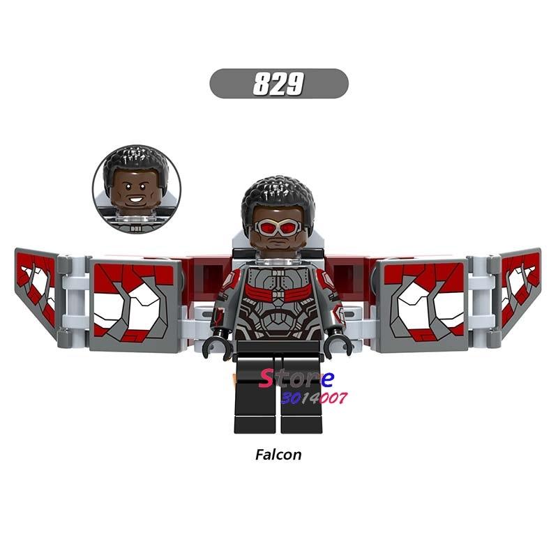 50pcs Marvel Avengers 3 Infinity War Part 1 Falcon Iron Man Doctor Strange figure Spider-Man building block for children toys