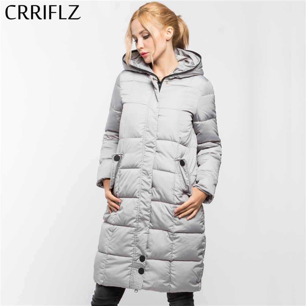 High Quality Long Fashion Warm Winter Jacket Women Hooded Coat Down Parkas Female Outerwear CRRIFLZ 2017 New Winter Collection high quality thick warm wind down jacket female fashion casual cotton coat women winter coat jacket warm long outerwear overwear