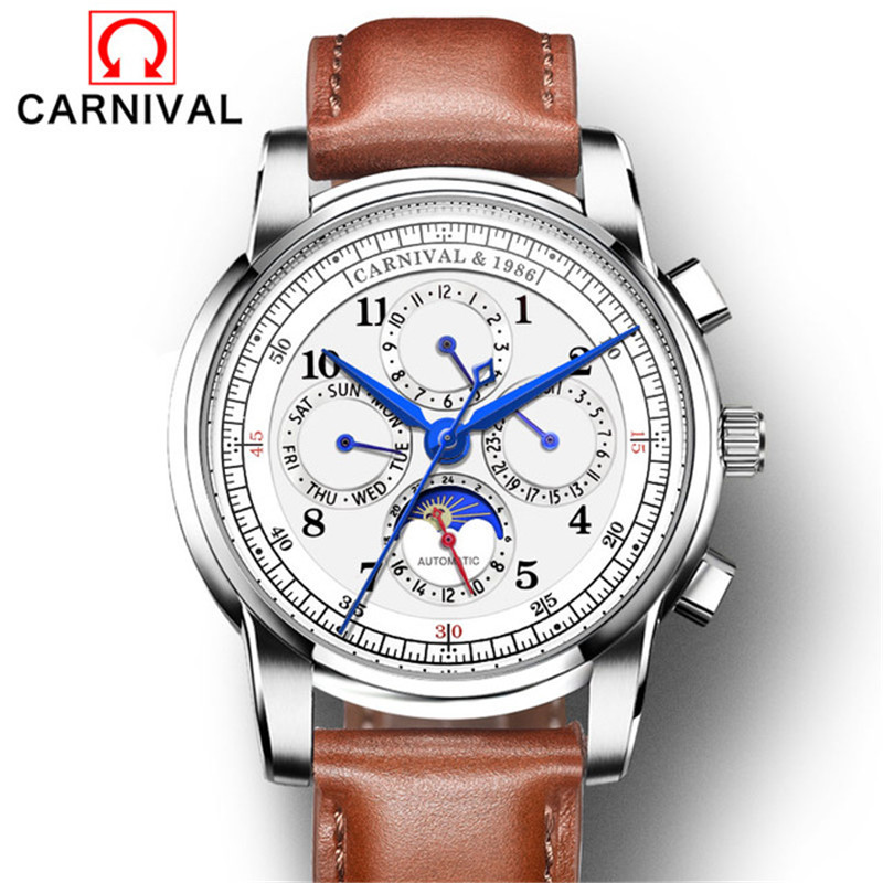 Carnival Classic Business Automatic Mechanical Watch Men Multifunction Leather Waterproof Wristwatch Male Clock erkek kol saati