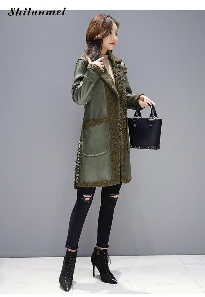 A Sintetica In army Caldo Donne Pelle Inverno 3xl Di Manica Outwear Hiver Modo Caramel Formato Più Green Il Femme Lunga Soprabito 2018 Pile Cappotto Reversibili frf65qw