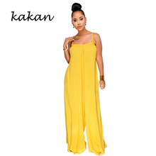 Kakan sexy women's loose jumpsuit strapless backless jumpsuit trousers yellow wide leg pants