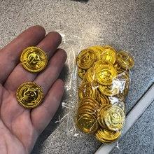 50 Uds de plástico a moneda de oro de Halloween para niños decoración de fiesta de cumpleaños falso tesoro de oro regalos suministros de fiesta niños favor