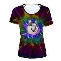 Stylish Women Basic T Shirt Cute 3D Fire Colorful Husky Pug Dog Print Girl Tees Brand Short Sleeve Top Cloth T shirt