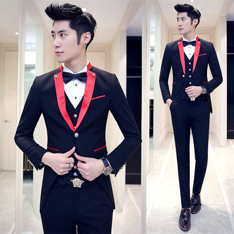 2017 New White Slim Fit Groom Tuxedos Navy Blue Lapel 3 Piece Mens ...
