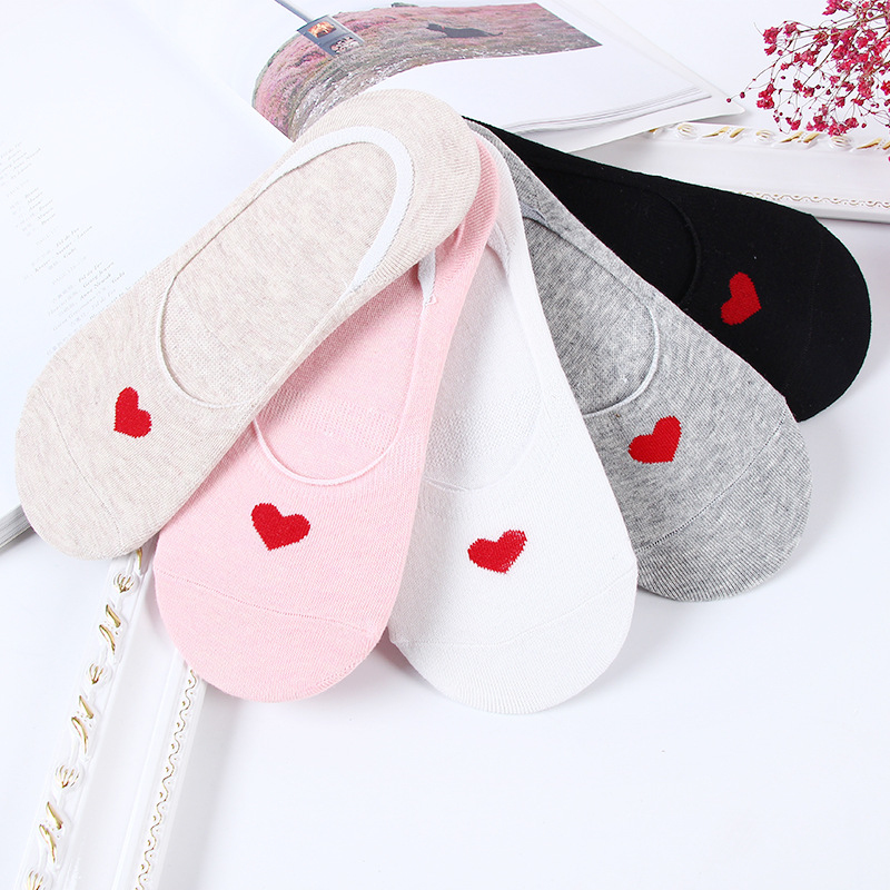 5pairs/lot Ankle   Socks   Women   Sock   No Show Non-slip Short Boat   Sock   Womens Breathable Soft Cotton Heart White/Black Skarpetki 30