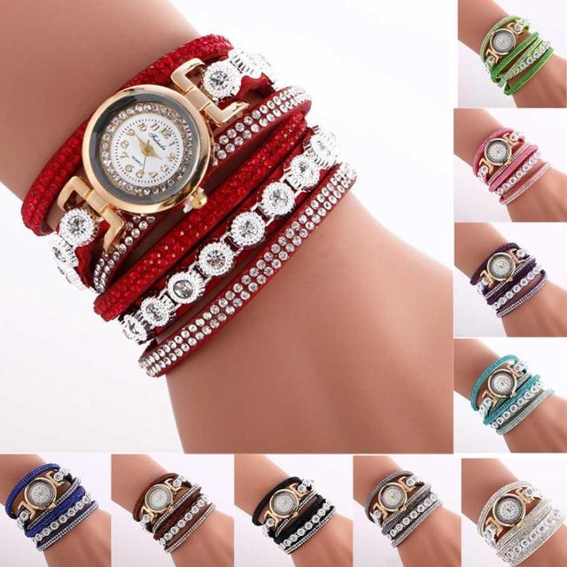 Women Ladies Metal Decorative Circle Quartz Watch Winding Bracelet watch women b