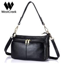 Westcreek Marke Echtes Leder Frauen Mode Umhängetasche Handtasche Litschi Muster Kuh Leder Multi Reißverschluss Crossbody Tasche Klappe