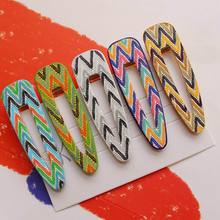 2019 New Colorful Stripe Arrow Hair Clips for Women Accessories PU Leather Geometric Waterdrop Metal Gold Color Hairpins