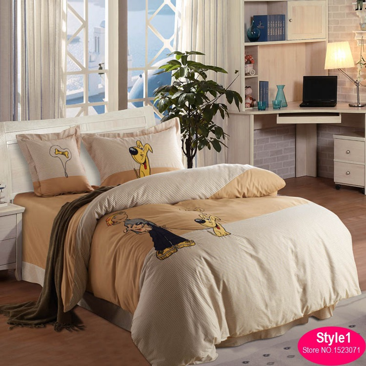 4pcs dog print bedding set boysgirls bedclothes kids bed linen cartoon duvet cover - Kids Sheets Boys