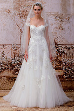 New Arrival Sweetheart cap sleeve princess Tulle wedding dress 2015 KEW514