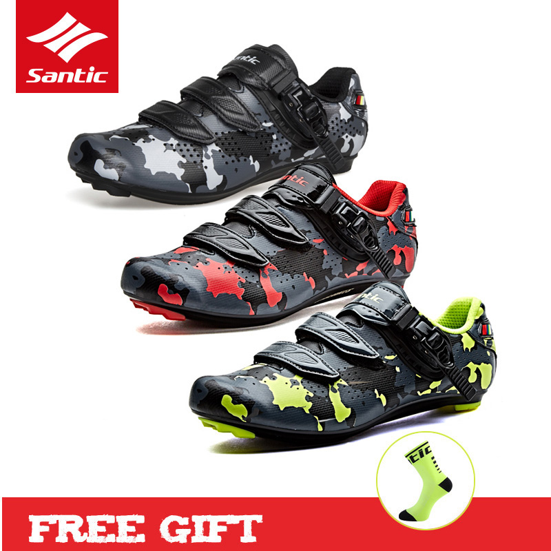 ec0ff462abe Santic 2018 Men Pro Road Cycling Shoes Bike Sneakers PU Breathable Biking  Shoes Auto-locking Bicycle Shoes for Outdoor Riding