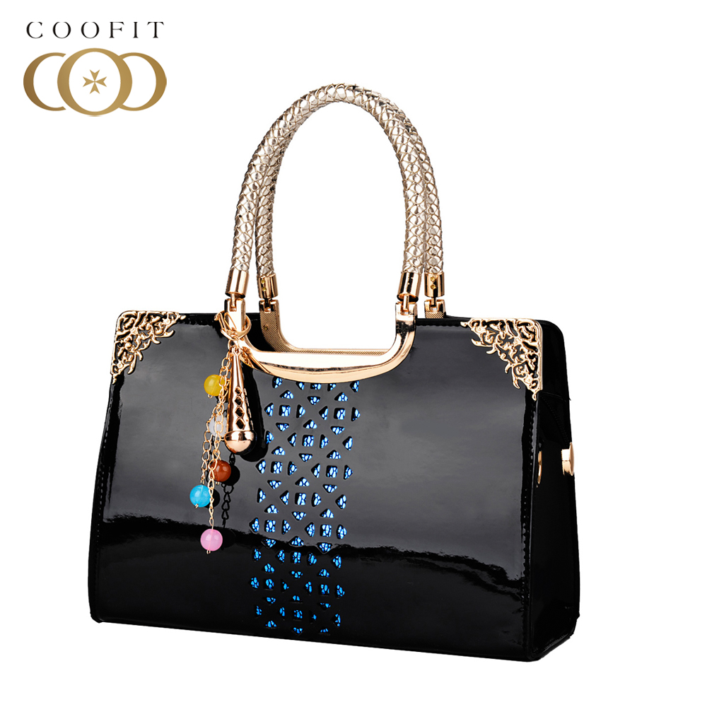 Luxury Patent Women PU Leather Handbag Elegant Womens Chains Messenger Shoulder Bags Hollow Out Crossbody Bags For Office Lady patent leather handbag shoulder bag for women