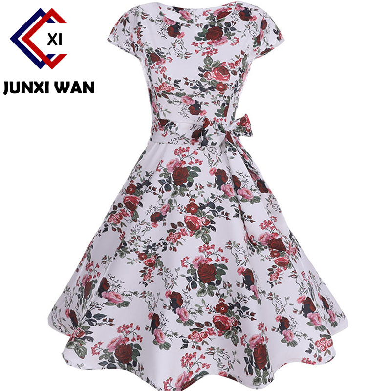 Retro Rockabilly Dress Floral Print Elegant Vintage Dresses Women 2018 Summer Fashion Polka Dot Office Party Sundress Vestidos