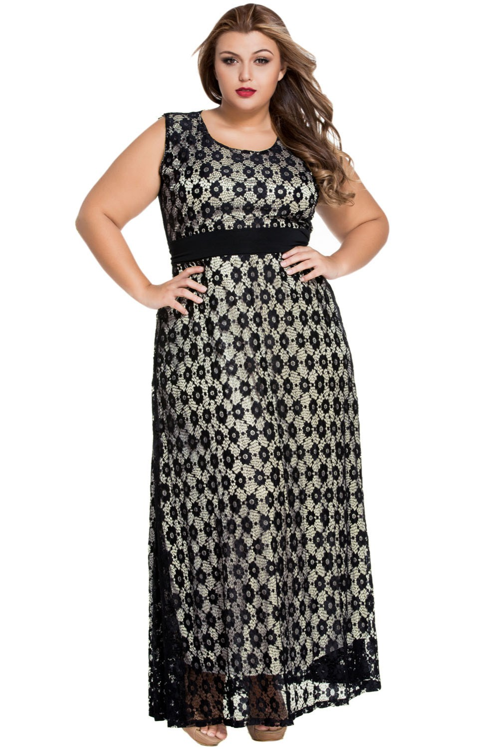 Adogirl Plus Size Summer Maxi Dresses O Neck Floral Lace Overlay
