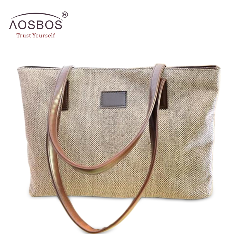 Aosbos New Vintage Women Cotton Linen Handbags Pepejal Zip Bahu Beg Kapasiti Besar Kasual Black Handbag untuk Ladies Girls