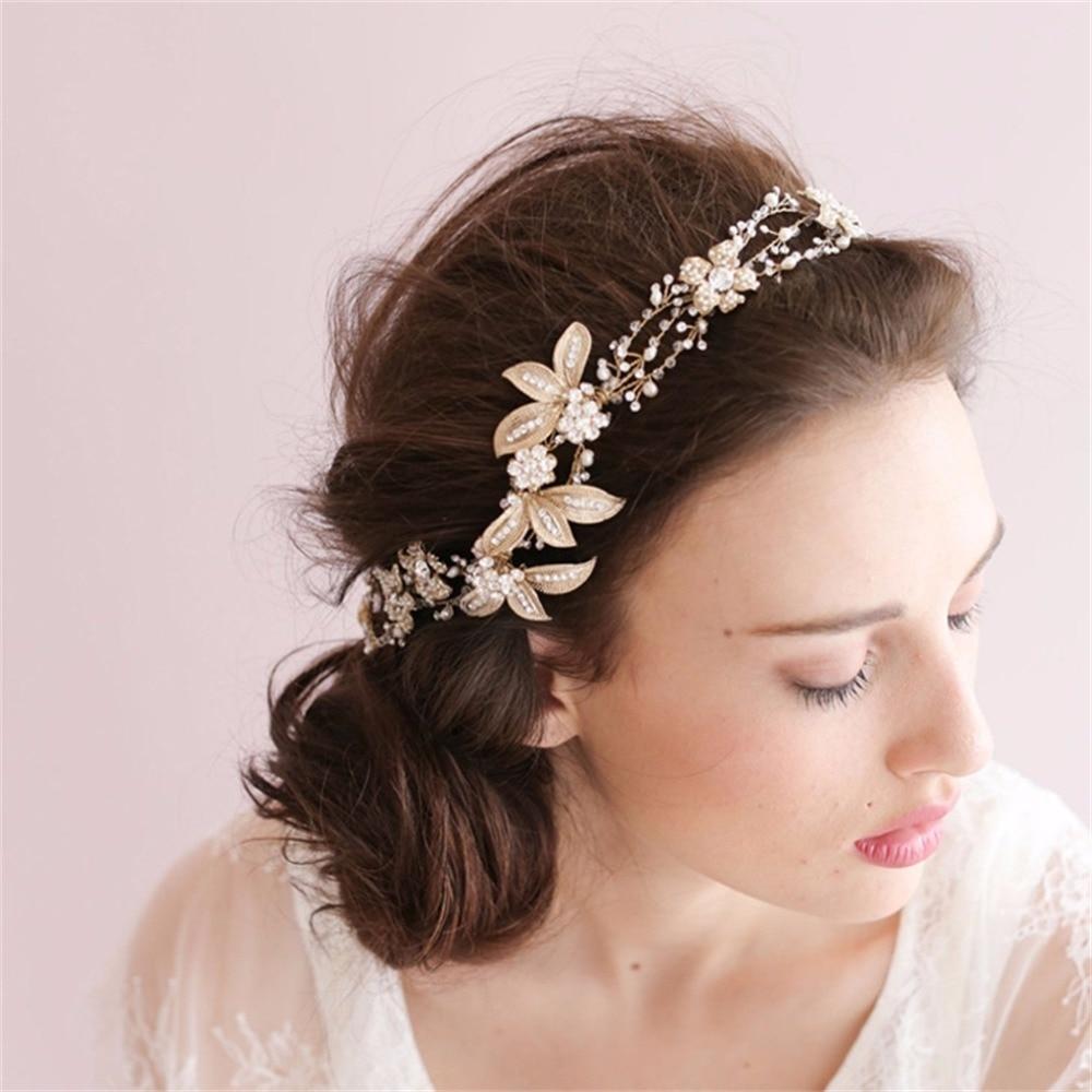 YAZILIND bijoux de cheveux de mariée clair cristal feuille fleur bandeau femmes de mariage à la main or argent plaqué accessoires de cheveux