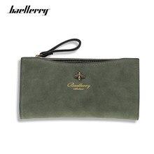 Baellerry-cartera Vintage de piel para mujer, de alta calidad cartera larga, clásica, verde, monedero con cremallera, bolsillo para monedas