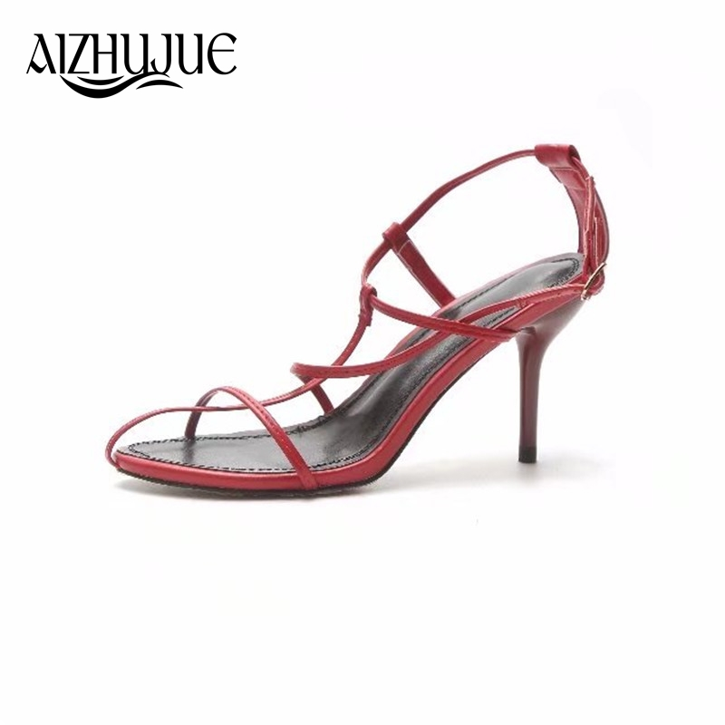AIZHUJUE Strappy Lance Sandals 2018 Summer Women Party Shoes Woman Open Toe Cut-Outs Buckle High Heels Gladiator Sandals Women enmayla womens high heels shoes summer ladies gladiator sandals women faux suede open toe rhinestone strappy sandals shoes woman