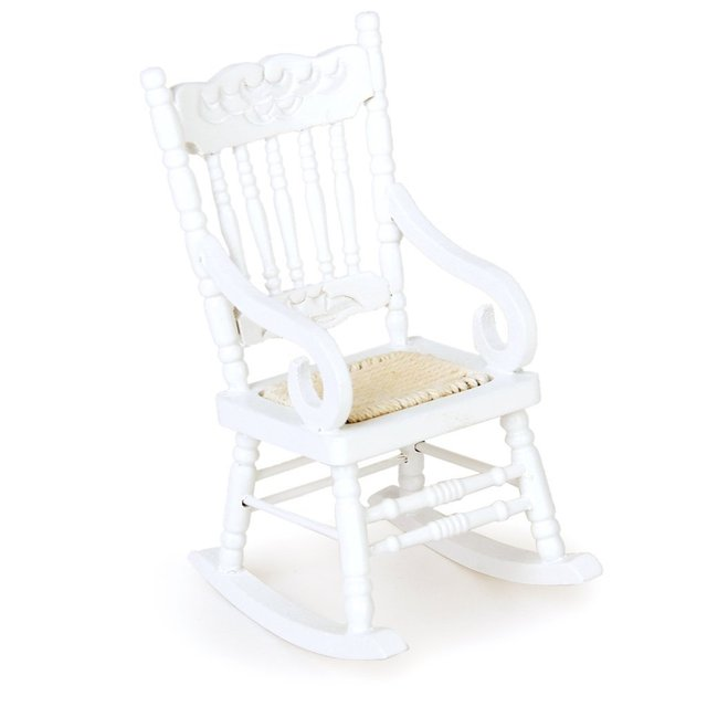 1/12 Miniature Doll House Wooden Rocking Chair