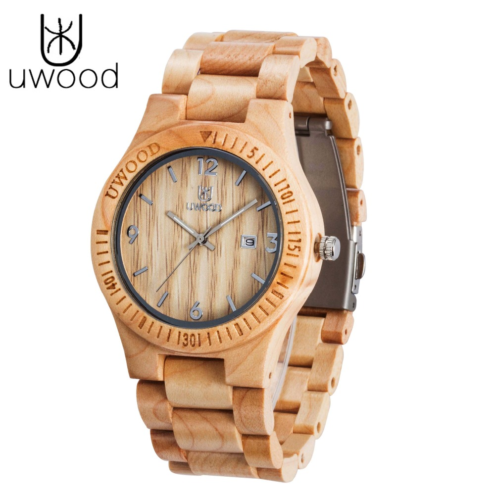 2018 New UWOOD Man Wooden Watch New Christmas Gift Bangle Quartz Watch With Calendar Display Role Men Relogio Masculino Watches pair of stylish rhinestone triangle stud earrings for women