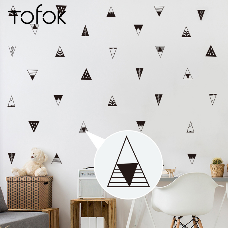 Decoratie Muur Kinderkamer.Tofok Geometrische Driehoek Muurstickers Kinderkamer Decoratie