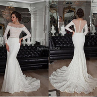 New Collection 2019 Lace Wedding Dresses Sheer Long Sleeves Bridal Gowns Beautiful Lace Trumpet Berta Bridal Wedding Gowns