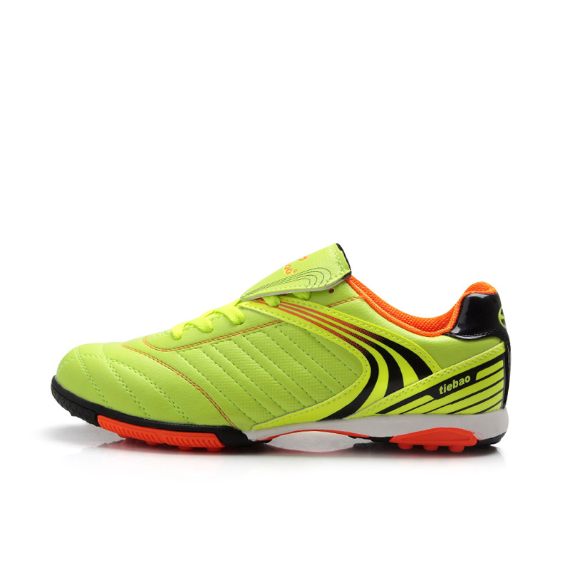 TIEBAO E1220A Professional Kids Soccer Shoes Black Blue Fluorescence Yellow Color Soccer Boots EU Size 34-38 TF Football Boots fluorescence yellow high visibility