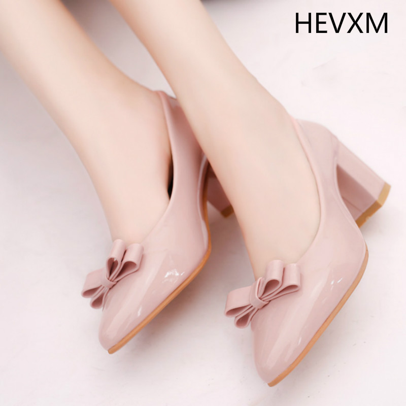 HEVXM new spring white small leather shoes female pointed high-heeled shoes with large size work shoes comfortable shoes 33-41 hevxm 2017 spring new ladies fashion casual flat bottom high white shoes women hollow comfortable breathable embroidered shoes