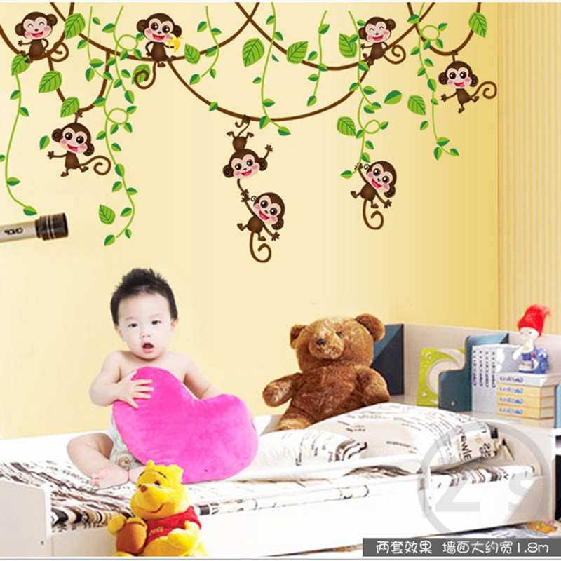 Zs Sticker Cute Monkey Wall Stickers for Kids Room Home Decor ...
