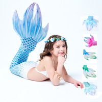 3pcs/set Kids Girls Ariel Swimsuit Mermaid Tail Costumes for Children Swimming Mermaid Tails With black Monofin Cosplay Costumes