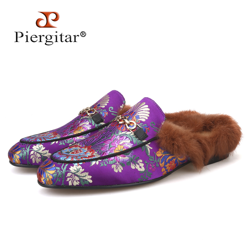 Piergitar 2019 new style Handmade men s silk slippers Fashion party and wedding Fur men loafers