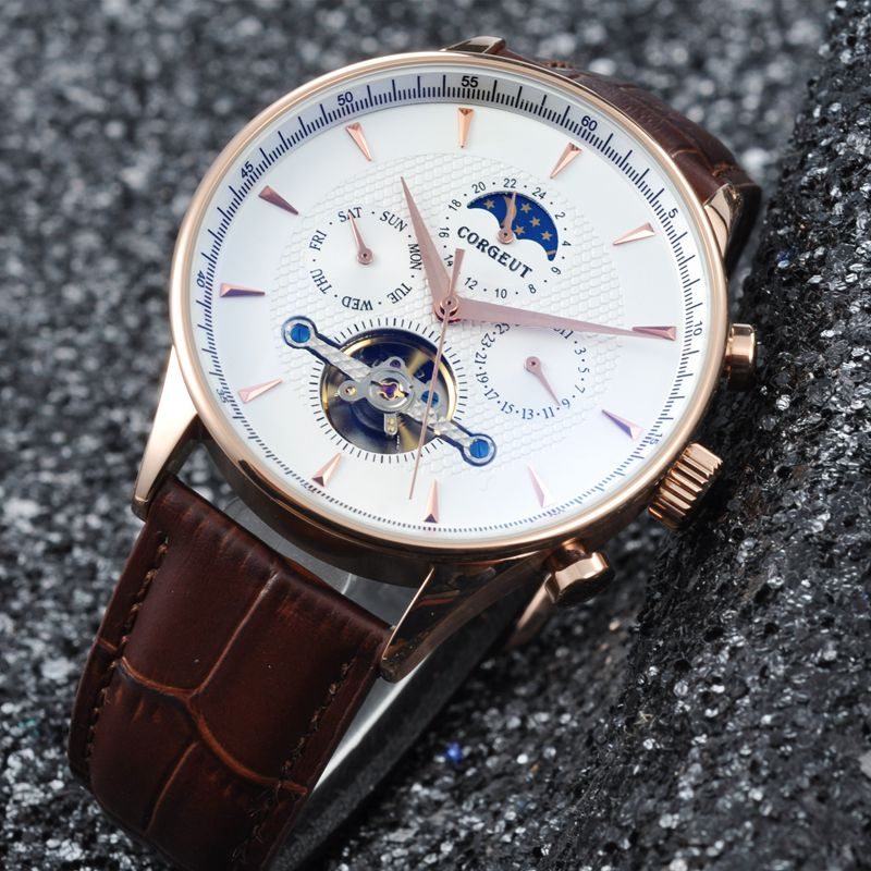 Corgeut 44mm Domed Glass Moon Phase luxury clock Rosegold Hands Date & Day Complete Calendar Mens Automatic watch top brandCorgeut 44mm Domed Glass Moon Phase luxury clock Rosegold Hands Date & Day Complete Calendar Mens Automatic watch top brand
