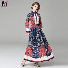 Merchall Fashion Women Dress Designer Runway Robe Femme Spring Summer New 2019 Print Long Maxi Party Vestido Dresses